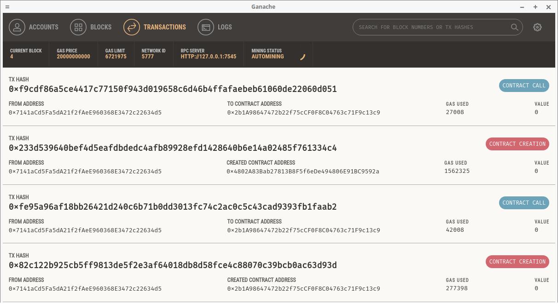 Ethereum Vue - Ganache transactions
